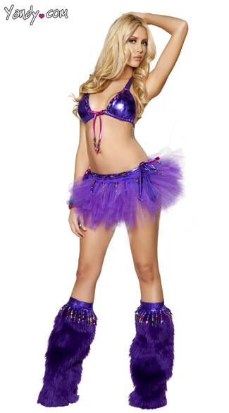 Beaded Purple Rave Set, Metallic Purple Raver Clothing, Purple Metallic Rave Clothes