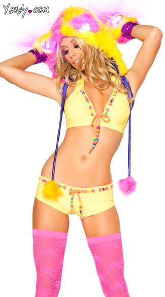 Beaded Yellow Short and Top, Yellow Beaded Dancewear