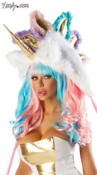 Deluxe Unicorn Hood, Josie Loves J Valentine Unicorn Hood, Faux Fur Unicorn Hat