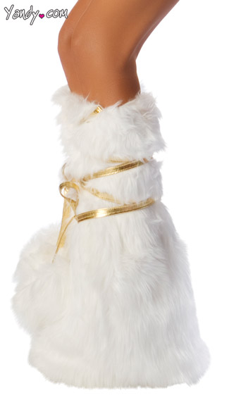 Deluxe Unicorn Legs, White Faux Fur Legs, White and Gold Costume Leg Warmers