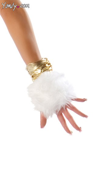 Deluxe Unicorn Gloves, White Faux Fur Gloves, White and Gold Costume Gloves