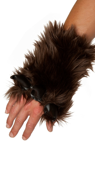 Mens Brown Bear Gloves, Brown Furry Gloves