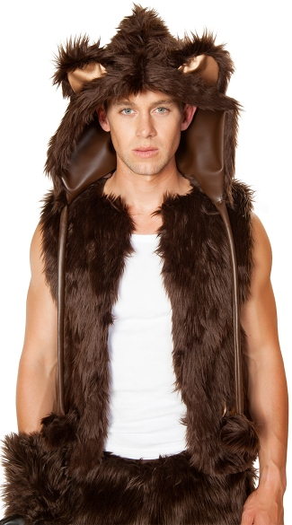 Mens Brown Bear Hood, Brown Bear Costume Hood