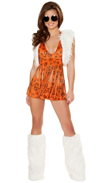 Orange Hippie Chick Costume, Peace Baby Hippie Costume