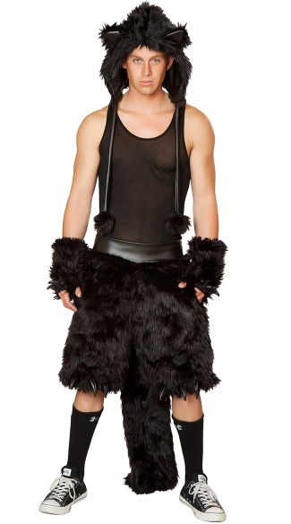 Mens Black Cat Costume, Mens Cat Costume, Adult Cat Halloween Costume