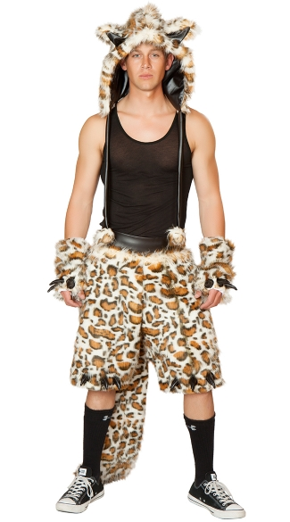 Men\'s Leopard Costume, Mens Leopard Shorts, Male Leopard Costume