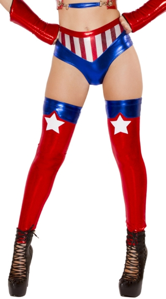 Sexy American Hero Leggings, America Leggings, Metallic Leggings