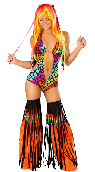 Rainbow Raver Set, Rainbow Print Rave Outfit, Rainbow Rave Wear Set, Black Light Rainbow Outfit
