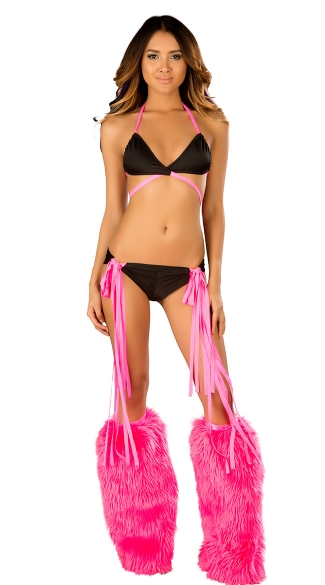 Wrap Around Dance Set and Legwarmers, Bra and Short Set, Triangle Top and Short Dance Wear