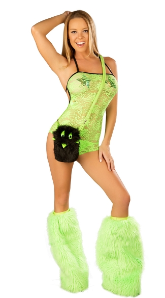 Night Moves Rave Set, Lace Romper And Legwarmers, Rave Romper Set, Lace Ravewear, See Through Rave Wear