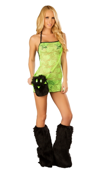 Lace Mini Dress and Legwarmers Set, Lace Dress, Rave Dress and Furry Legwarmers