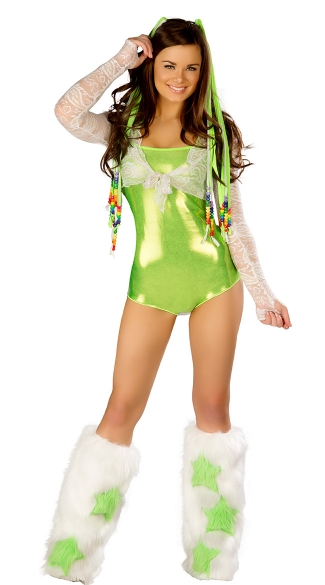 Groovy Green Romper and Furry Legwarmers Set, Metallic Green Romper and Legarmers, Metallic Rave Romper Set