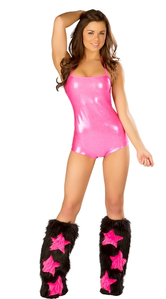 Metallic Romper and Star Legwarmers Set, Metallic Rave Wear Romper, Metallic Dancewear Romper
