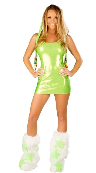 Metallic Green Mini Dress and Legwarmers Set, Metallic Green Dress, Green Rave Dress, Metallic Rave Wear Dress