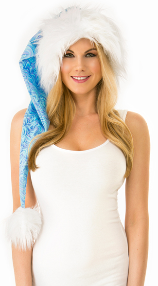 Long Blue Swirl Santa Hat, Long Santa Hat, Blue and White Santa Hat