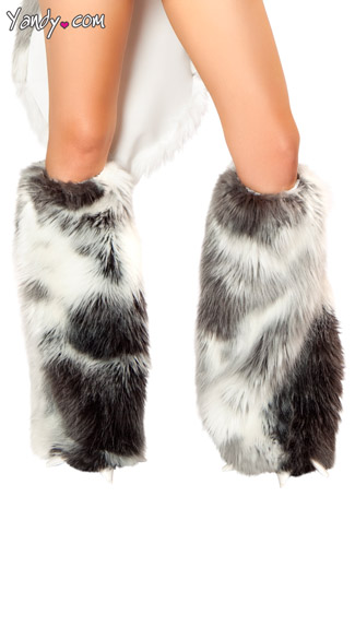 Husky Costume Claw Legwarmers, White and Gray Faux Fur Legwarmers
