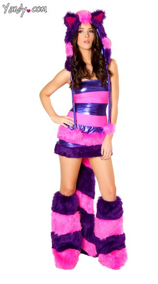 Wonderland Cheshire Cat Rave Costume, Sexy Cheshire Cat Rave Set, Furry Cheshire Raver Costume, Pink and Purple Cheshire Cat Wonderland Costume, Cheshire Cat Rave Hood