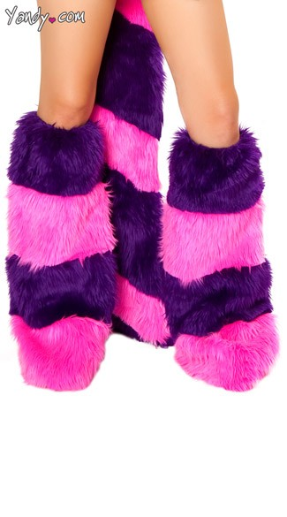 Cheshire Cat Costume Legwarmers, Cheshire Leg Warmers, Pink and Purple Legwarmers