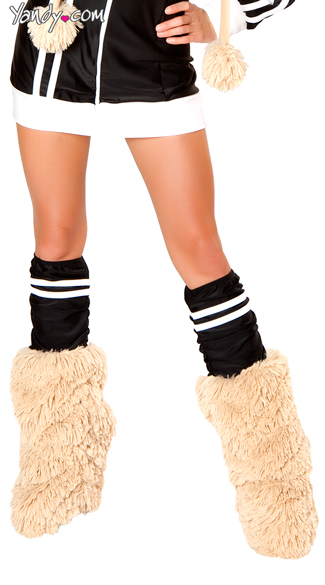 Black Sporty Legwarmers, Black and Faux Fur Legwarmers