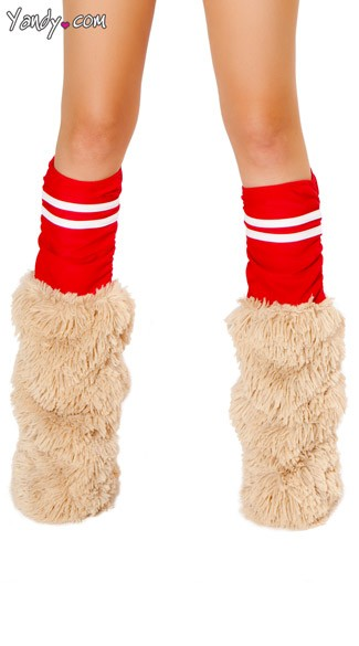Red Sporty Legwarmers, Red Costume Leg Warmers, Faux Fur Hamster Legwarmers