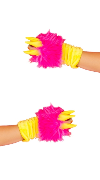 Deluxe Pink Dragon Gloves, Deluxe Dragon Gloves, Fur Dragon Gloves, Pink Fur Gloves