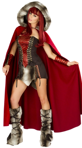 Deluxe Dragon Slayer Cloak, Red Costume Cloak, Red Hooded Cape