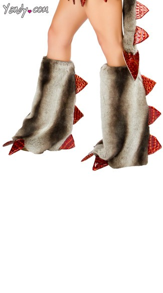 Deluxe Fire Breather Legwarmers, Red Dragon Legwarmers, Faux Fur Dragon Legwarmers