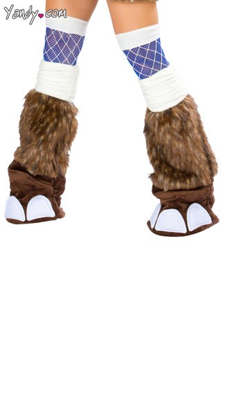 Deluxe Woolly Mammoth Legwarmers, Brown Furry Legwarmers, Elephant Costume Legwarmers