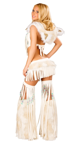 White Fringe Indian Top And Skirt