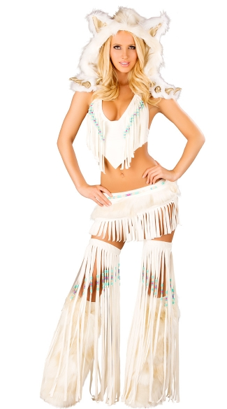 Deluxe Sexy White Indian Costume, Sexy White Native American Costume
