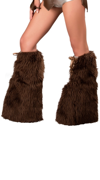 Brown Furry Lace Up Trojan Legwarmers