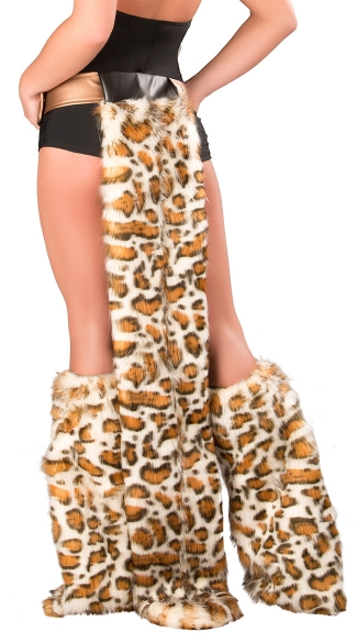 Frisky Belt With Furry Tail, Sexy Leopard Belt and Tail, Leopard Tail Accessory