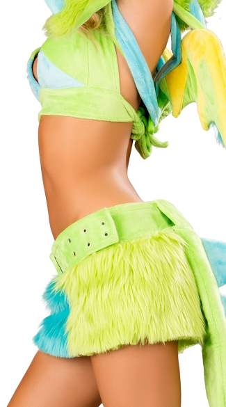 Neon Green Puff Dragon Skirt And Top