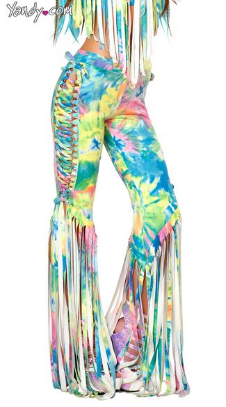 Tie Dye Lace Up Fringe Pants Lace Up Pants Fringe Pants