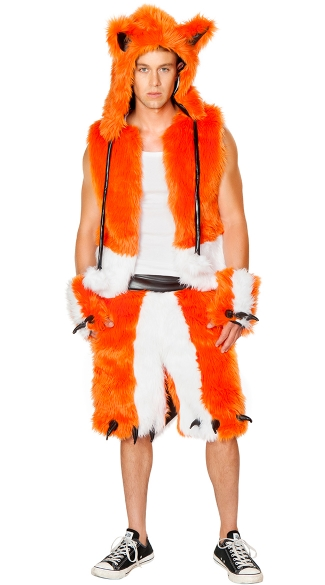 Men\'s Furry Fox Costume, Male Fox Costume, Mens Fox Halloween Costume