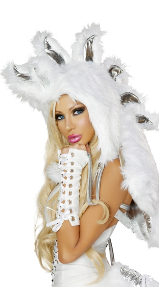 Pegasus Fur Hood, Animal Fur Hood, Faux Fur Animal Hood