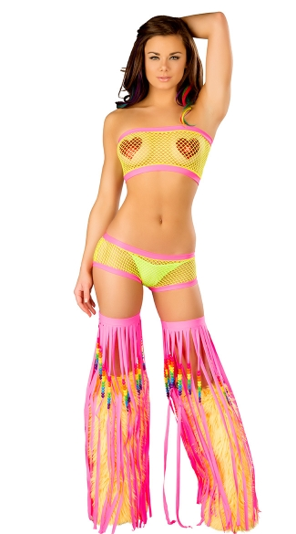 Neon Net Tube Top and Shorts Set, Neon Fishnet Lingerie Set, Net Lingerie Set, Net Bra Top Set
