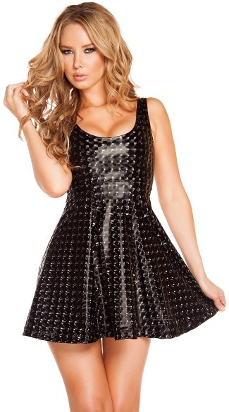 Galactic Foil A-line Dress, Short Dress, Foil Short Dress