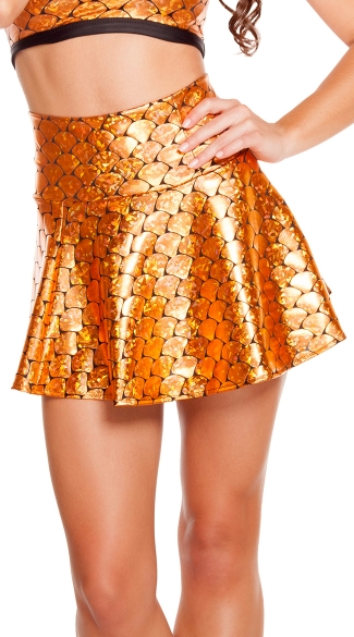 Goldfish Print High Waisted Skirt, Gold Fish Skirt, Gold Skirt