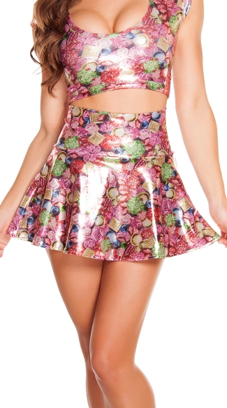 Jewel Print High Waisted Skirt, Metallic Jewels Skirt