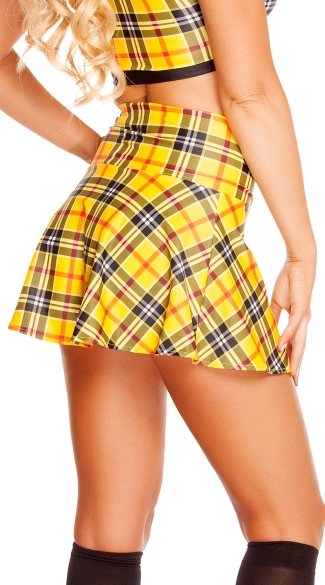 Plaid Print High Waisted Skirt