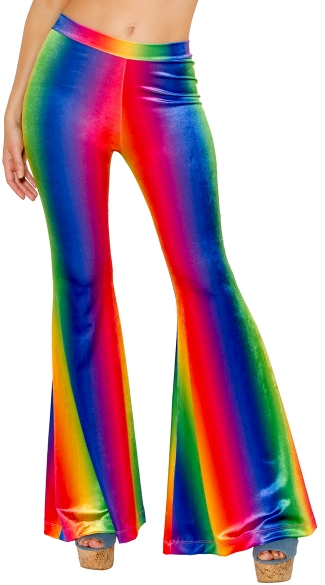 Rainbow Velvet Bell Bottom Pant