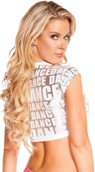 Metallic Dance Print Crop Top
