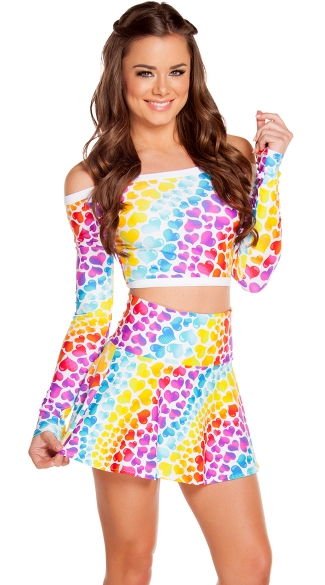 Long Sleeve Heart Print Crop Top, Rainbow Heart Top