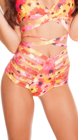 Neon Daisy Strappy High Waisted Shorts