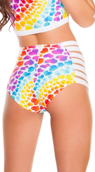 Rainbow Hearts Strappy High Waisted Shorts
