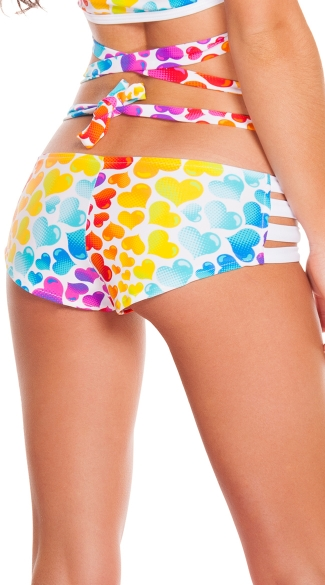 Strappy Rainbow Hearts Shorts