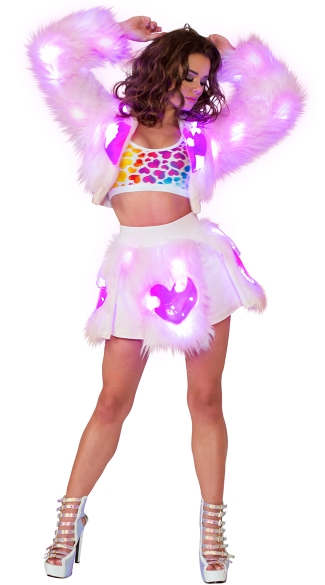 Pink and Rainbow Hearts Light-Up Shag Set, Rainbow Hearts Crop Top, Neon Heart Print Top, Heart Top, Light-Up Pink Heart Shag Jacket, Light-Up Jacket, Rave Clothing, Light-Up Pink Heart Shag Skirt, Light-Up Skirt, Dancewear Skirt