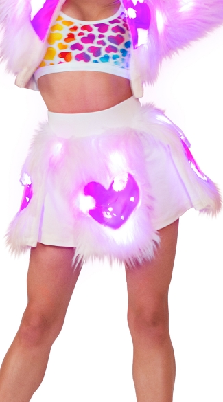 Light-Up Pink Heart Shag Skirt, Light-Up Skirt, Dancewear Skirt