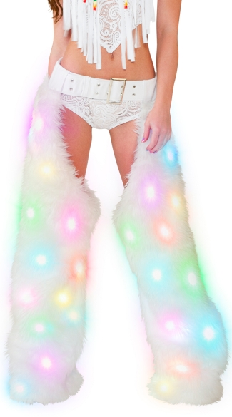Light-Up White Shag Chaps, Shag Chaps, Dancewear Chaps
